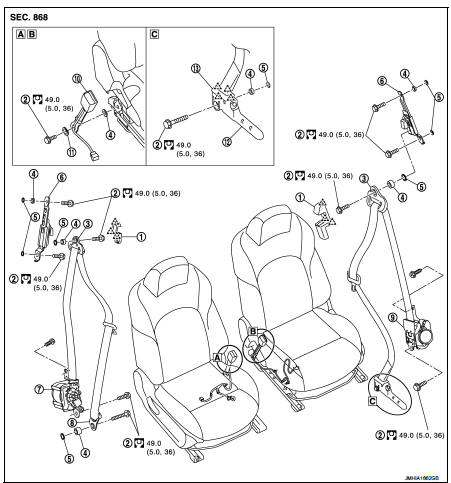 Front seat belt - Removal and installation - Seat Belt - Nissan Juke  Service and Repair Manual:Nissan Juke owners & service manuals, user guides
